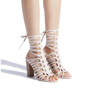 """Pretty size 8.5 caged sandal with 4.5"""" heel. NWOB"""